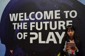 """Schild von Sony """"Welcome to the future"""""""